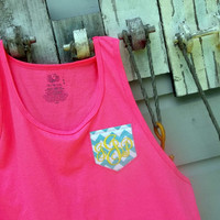 Monogrammed Chevron Pocket Applique Tank Top for Ladies, Monogram Swimsuit Coverup or Gym, Womens Personalized Embroidered Swim Wedding