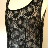Vintage Sheer Black Lace Dress Size L