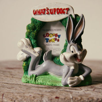 vintage 90s what's up doc BUGS BUNNY stand up frame / looney toons / retro / hipster / cartoon / warner bros / kids