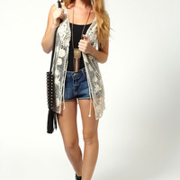 Jade Crochet Sleeveless Cardigan
