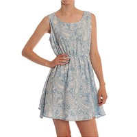 Hearts and Bows Blue Turner Chambray Skater Dress | ARK