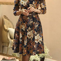 Dark Blue Floral Print Long Sleeve Midi Dress with Belt