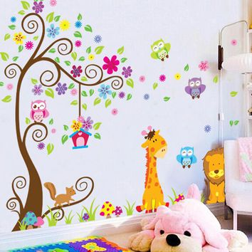 Diy Giraffe Lion Owl Birds Tree Wall Sticker For Kids Baby Nursery Rooms Children Bedroom kindergarten Decor Wall decal Mural