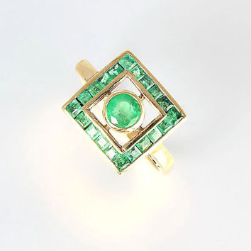 Art Deco Emerald Ring. 14K Solid Gold Square Channel Set. Size 8 Antique Emerald Ring