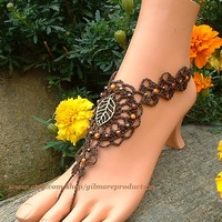 Brown Barefoot Sandals Tree of Life Yoga Nude Foot Jewelry Bohemian Flats Beaded Toe Ring Wedding Leg Accessory Gypsy Bracelet Beach Shoes