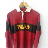 CLEARANCE SALE 25% 90's Vintage POLO Ralph Lauren  P67 P Wing Stadium Rugby Shirt Hip Hop