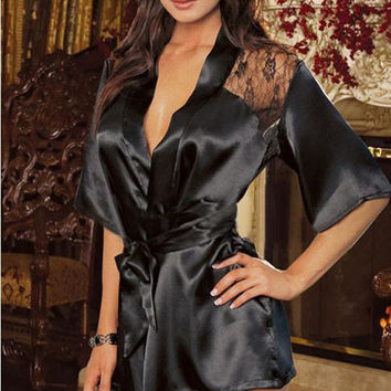 Black Floral Lace Back Robe