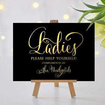Ladies Wedding Bathroom Sign - 5x7 sign - DIY Printable - Bella - gold foil on black - PDF and JPG files - Instant Download