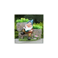 Sintechno Inc Cute Gnome Reading Book with Two Flower Novelty Pot Planter