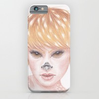Deer Girl iPhone & iPod Case by Drawings By LAM