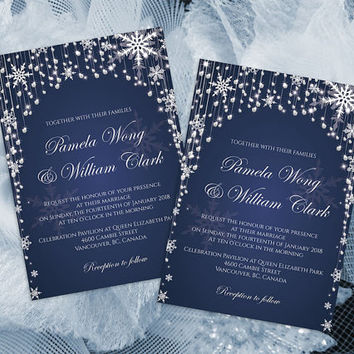 DIY Printable Wedding Invitation Card Template | Editable MS Word file | 5 x 7 | Instant Download | Diamond Shower Snowflakes Navy Blue