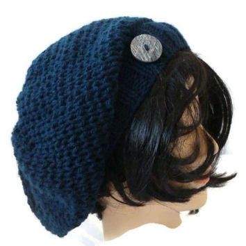 Womens Slouchy Hat, Blue Knit Hat, Hat with Button, Knit Beanie
