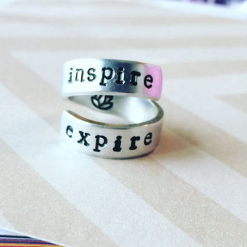 Inspire expire  aluminium spiral ring, clam, yogi, meditation ring lotus inside
