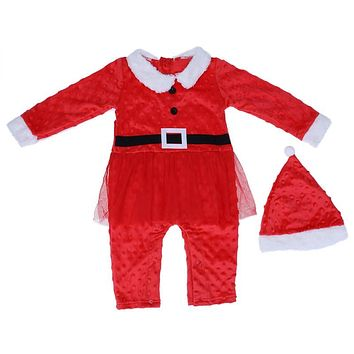 2pcs Baby Girls Christmas Long Sleeve Yarn Climbing Romper Jumpsuit + Hat Outfit X-mas Santa Claus Clothes for Baby Girls