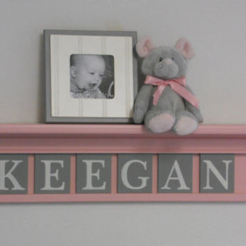 "Baby Nursery Decor Wall Shelves, Personalized with 6 Grey Letter Blocks, Baby Name KEEGAN on 30"" Light Pink Shelf"