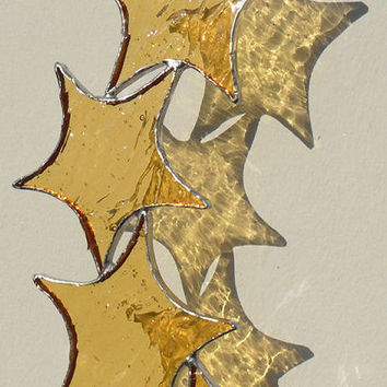 Gold Star Cascade Suncatcher, Stained Glass Suncatcher