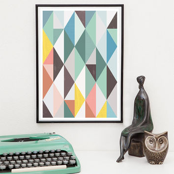 Abstract art, Scandinavian print, Mid century modern, Geometric print, Minimalist art, Abstract poster,  Wall art,  pastel color print