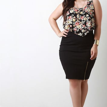 Zipper Trim Pencil Skirt