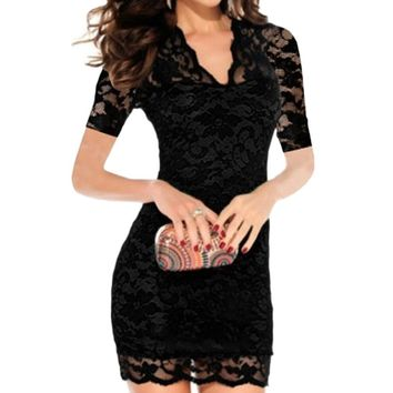 Women Sexy Summer Dress Hollow Out Slim Lace Stretch Dress V-Neck Short Sleeve Party Pencil Bodycon Bandage Mini Dress vestidos