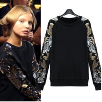 Sequined Floral Pattern Rib Sleeves Sweater