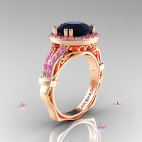 Caravaggio 14K Rose Gold 3.0 Ct Black Diamond Light Pink Sapphire Engagement Ring, Wedding Ring R620-14KRGLPSBD