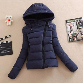 Down cotton-padded jacket and cap personality cotton coat Navy blue