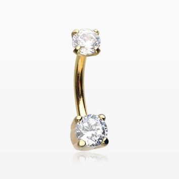 Golden Pristine Gem Sparkles Internally Threaded Curved Barbell