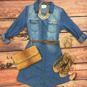 Always the Favorite Chambray Belted Tunic Dress: Medium