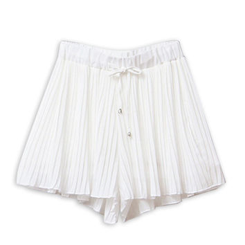 White Tie Waist Pleated Chiffon Shorts