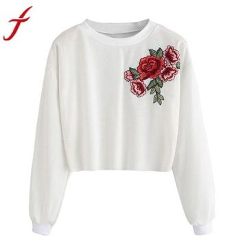 LMFMS9 Embroidery Blouse for Womens Rose Applique O-Neck Long Sleeve Pullover Crop Top