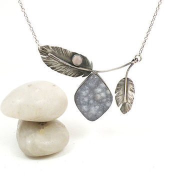 Druzy Necklace Sterling Silver Feather Rose Quartz Chalcedony Oxidized Rustic Statement Art Jewelry - Free To Fly Necklace