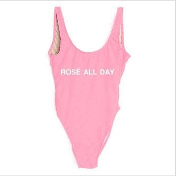 ESBIH3 ROSE ALL DAY [one line] letter printing one-piece swimsuit bikini