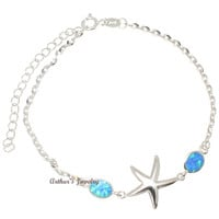 "925 Silver Rhodium Hawaiian Starfish Sea Star Blue Opal Link Chain Anklet 9.5""+"