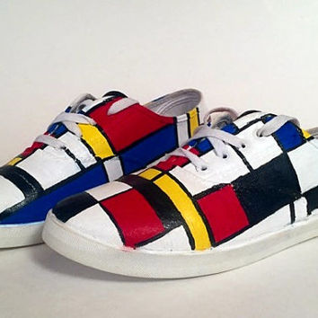 Hand Painted Canvas Shoes - Piet Mondrian