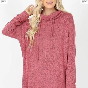 Rose Cowl Neck Tunic Sweater (All sizes)