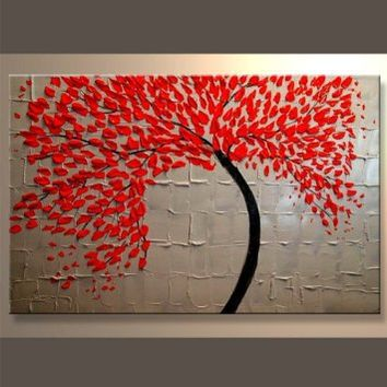 Santin Art - Modern Abstract Ready to Hang Stretched Canvas Oil Painting