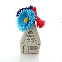 Mother's Day vase, house shaped vase, can be personalized, gift for Nana, Grandmother, Mom, ceramic, custom