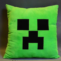 new arrives Minecraft Creeper Character Soft Toy Stuffed Doll Green and black Monster Pillow 1pcs