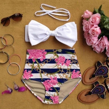 Brand Bikini Set Swimsuit Swimwear Women Sexy New Vintage High Waist Bikini Floral Print Big Bow Roupa De Praia Push Up Pin Up = 1955979716