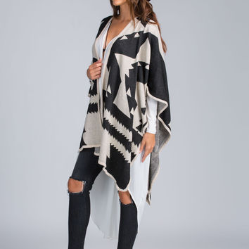 Easy Does It Tribal Print Poncho