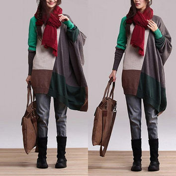 Green Patchwork Irregular loose sweater / cotton contrast color long-sleeved pullover jacket