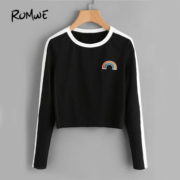 Rainbow Patch T-shirt Contrast Panel Crop Top Women Casual Long Sleeve
