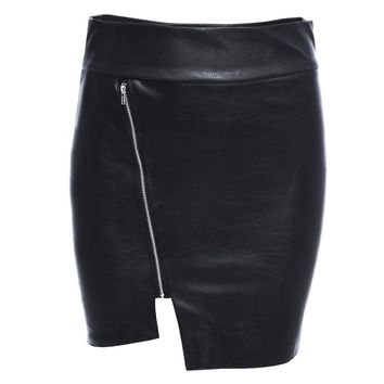 Chic Mid Waist Zippered Faux Leather Mini Skirt for Women