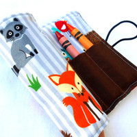 Forest Friends Crayon Roll - Red Fox Crayon Roll, 8 Crayons