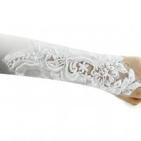 Simplicity New Wedding Bridal Lace Women Fingerless Party Girl Gloves - White