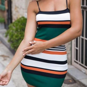 Green Striped Print Condole Belt Fashion Mini Dress