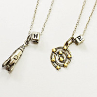 Big Bang Theory Friendship Necklace: Howard's rocket ship and Rajesh's walk through the stars