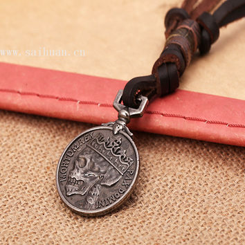 2015 Zinc Alloy Mens Skull and Crossbones Pendant Necklaces Cool Leather Necklace Coin Pendant Necklace