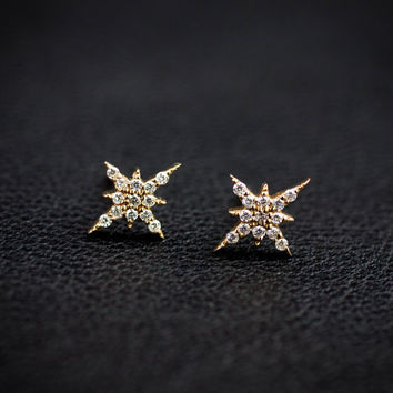 14k yellow gold diamond cluster earrings, rose gold, white gold option, starburst studs earrings, diamond earrings,  sb-e101 / Ready to ship