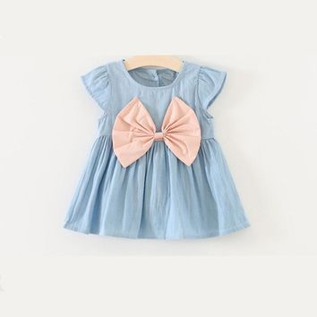Big Front Bow Denim Short Sleeve Dress